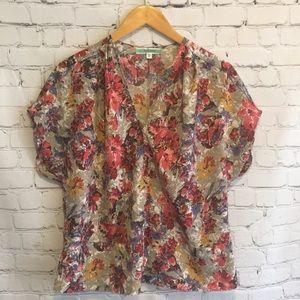 Pleione floral blouse. Gorgeous silky top.